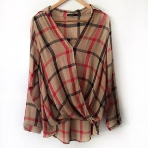 Amaryllis L Fall Plaid Crossover Gauze Blouse Top